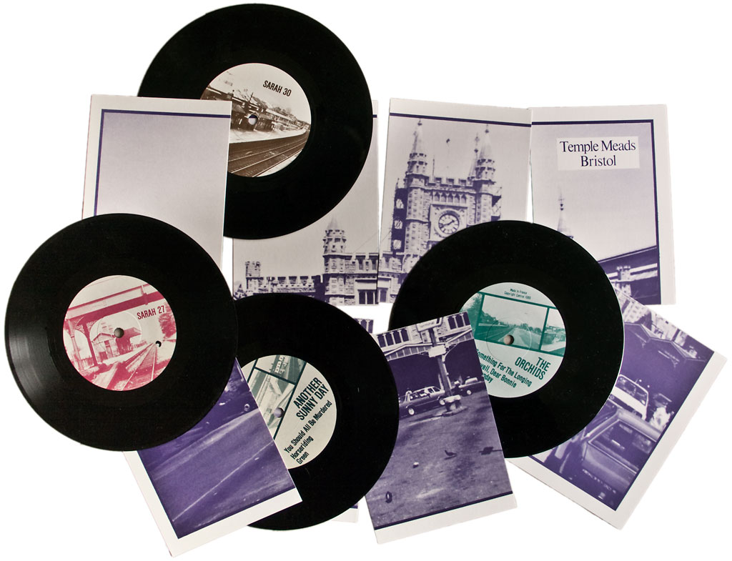 "Sarah 7"" labels and Temple Meads postcards"