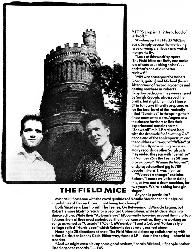 Field Mice interview, Bob Stanley, Melody Maker, 1990