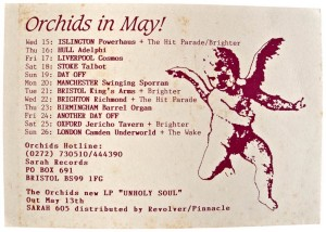 A postcard for the 1991 Unholy Soul tour by the Orchids, Sarah Records