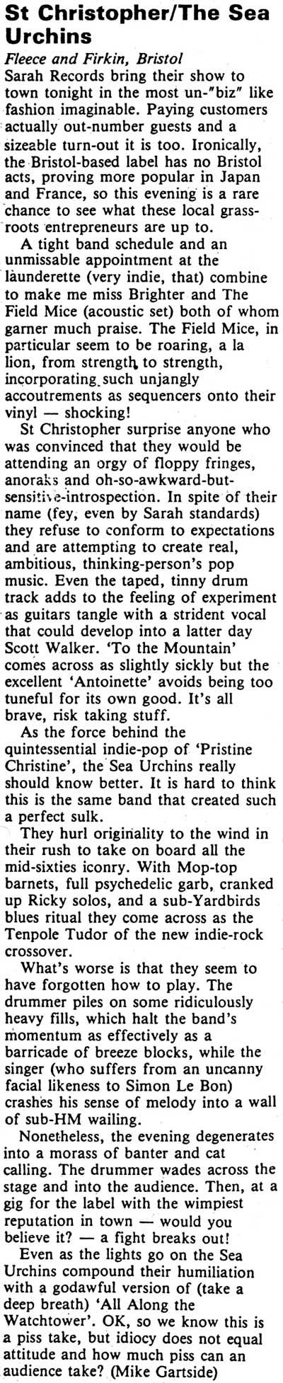 Sea Urchins & St Christopher @ The Fleece & Firkin