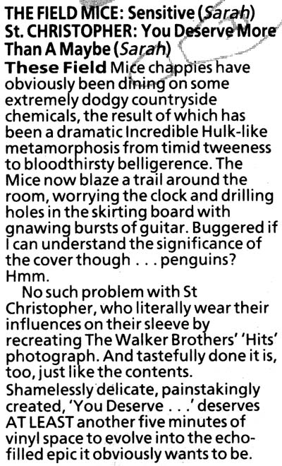 NME review of The Field Mice, Sensitive, and St Christopher, You Deserve More Than A Maybe