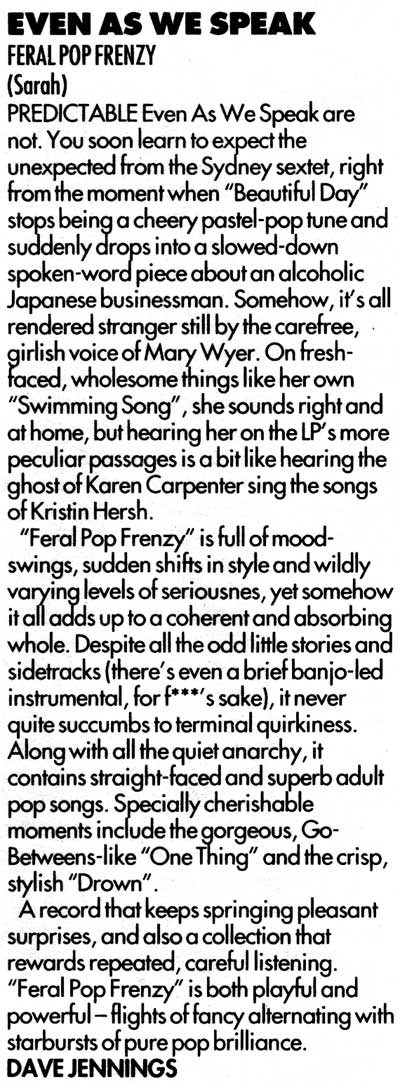 Even As We Speak Feral Pop Frenzy review