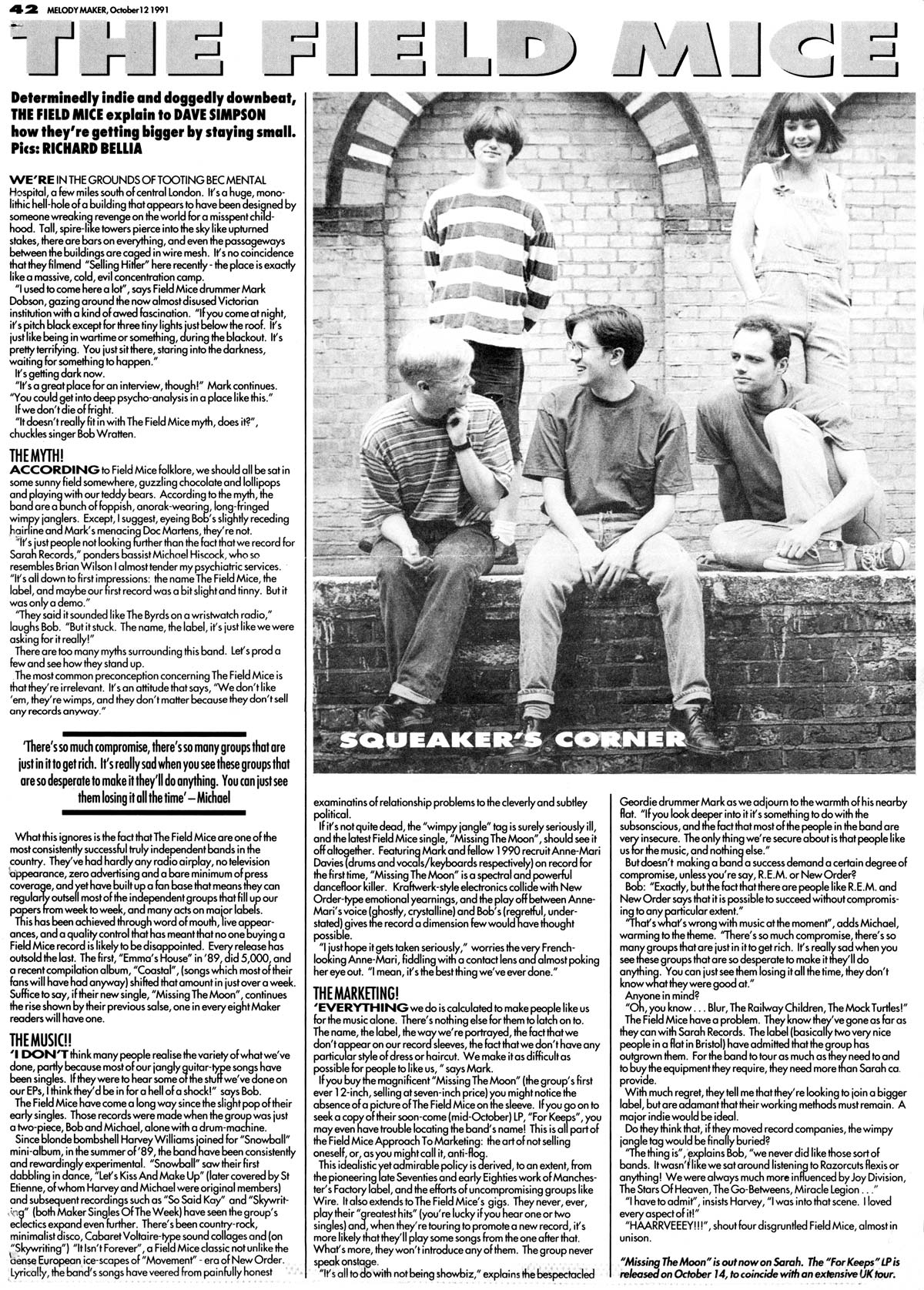Field Mice article in Melody Maker